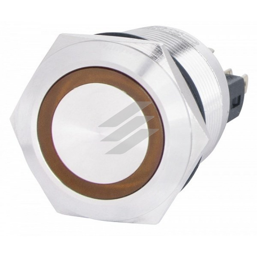 TYJ 22-371 220V жовта Кнопка метал. з підсв., з фіксац. 1NO+1NC, АсКо