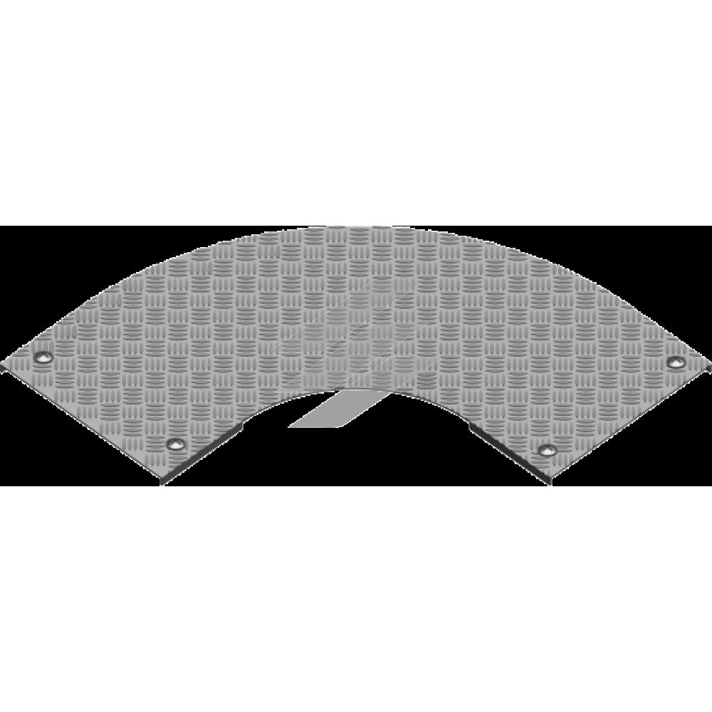 Рифлена кришка кута 90° з замком PZKZRT 600мм, BAKS
