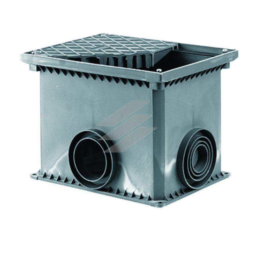 Смотрова, розподільча, комутаційна коробка (колодязь), термопластичний поліпропілен для встановлення в грунт, і в бетон, ввідні діаметримм 50-63-110; габаритні розміримм 360х260х255 (ДхШхВ), монтажні розміри 335х240х255 (ДхШхВ), ДКС
