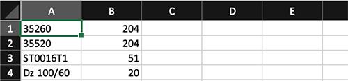 Заполните таблицу: Столбец 1 (A) - Код Производителя (Артикул), Столбец 2 (B) - Количество. Смотрите пример на изображении. Сохраните таблицу в формате Excel .xlsx.